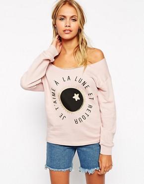 ASOS Sweatshirt With Off Shoulder And Print