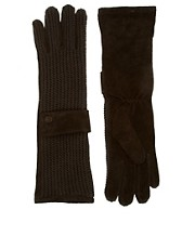 ASOS Suede and Knit Long Gloves With Cuff Detail