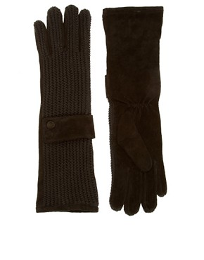 Image 1 ofASOS Suede and Knit Long Gloves With Cuff Detail
