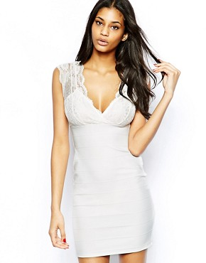 Lipsy Bandage Bodycon Dress with Lace Wrap Front