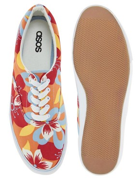 Image 3 ofASOS Plimsolls With Floral Print