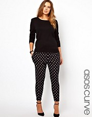 ASOS CURVE Peg Trouser In Spot Print