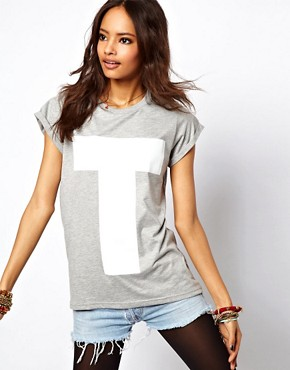 Image 1 ofASOS T-Shirt with Plastisol Letter T