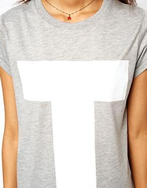 Image 3 ofASOS T-Shirt with Plastisol Letter T