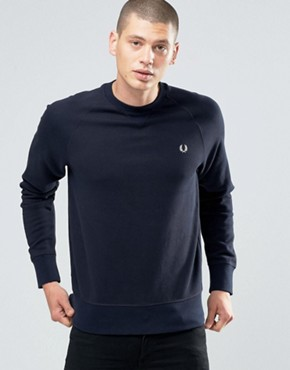 Fred Perry Sweatshirt With Raglan Sleeves In Navy