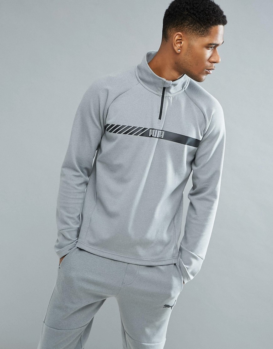 Puma Running Active Tec Stretch Zip Sweat In Grey 59423803 - Grey