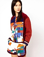 Ostwald Helgason  College-Jacke mit Strickrmeln