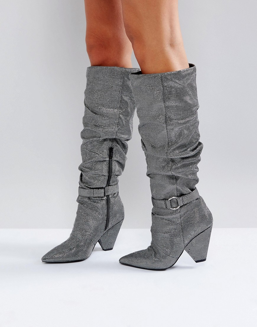 ASOS CHAPTER Ruched Knee Boots - Silver