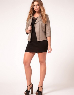 Image 4 ofASOS Curve Exclusive PU Biker Jacket