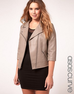Image 1 ofASOS Curve Exclusive PU Biker Jacket