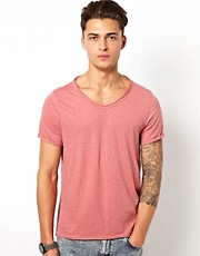 River Island - T-shirt rosa con scollo a V