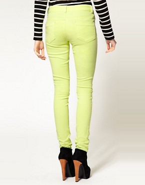 Image 2 ofASOS Skinny Jeans in Neon Yellow #4
