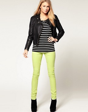 Image 4 ofASOS Skinny Jeans in Neon Yellow #4