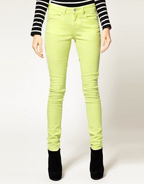 Image 1 ofASOS Skinny Jeans in Neon Yellow #4