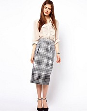 ASOS Pencil Skirt in Monochrome Check