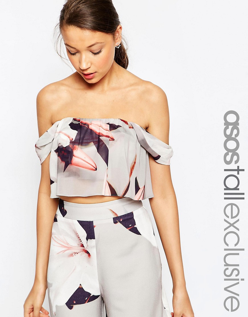 Image 1 of ASOS TALL SALON Co-ord Orchid Print Structured Off Shoulder Top