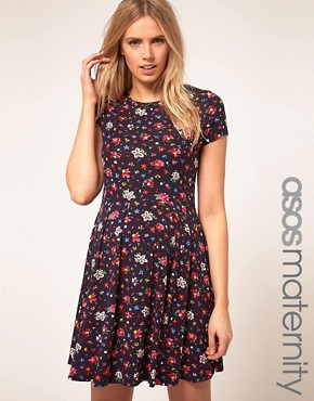 Image 1 ofASOS Maternity Skater Dress In Ditsy Print
