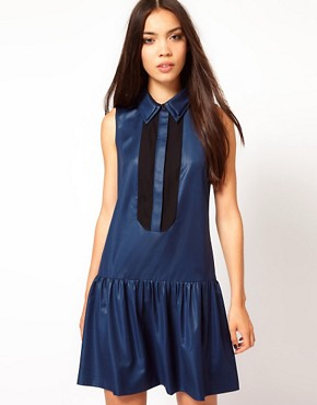 Image 1 ofNahm Sleeveless Drop Waist Dress with Sheer Placket Detail