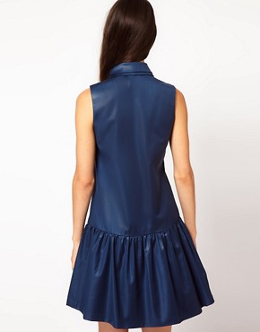 Image 2 ofNahm Sleeveless Drop Waist Dress with Sheer Placket Detail
