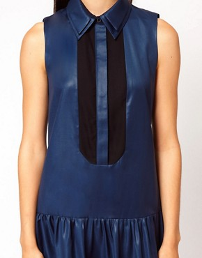 Image 3 ofNahm Sleeveless Drop Waist Dress with Sheer Placket Detail