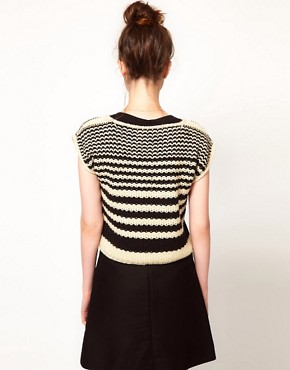 Image 2 ofKomodo &#39;Lucas&#39; Knitted Crop Jumper in Striped Print