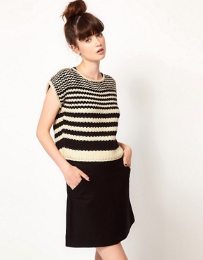 Image 1 ofKomodo &#39;Lucas&#39; Knitted Crop Jumper in Striped Print