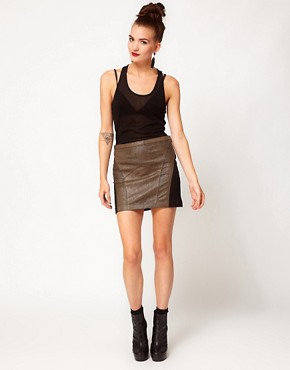 Image 1 ofApril May Leather Mini Skirt