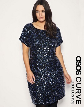 Image 1 ofASOS CURVE Exclusive Sequin &amp; Jewel Embellished Dress