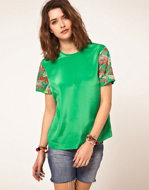 Bild 1 von ASOS  Gewebtes T-Shirt mit bestickten rmeln