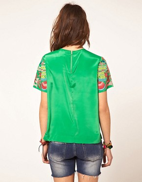 Bild 2 von ASOS  Gewebtes T-Shirt mit bestickten rmeln