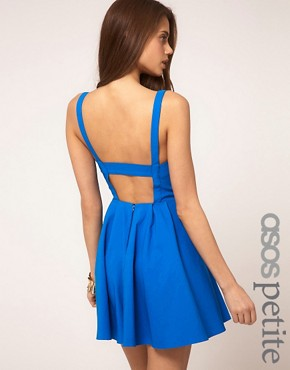Image 1 ofASOS PETITE Strappy Skater Dress