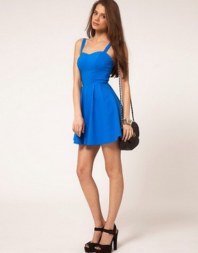 Image 4 ofASOS PETITE Strappy Skater Dress