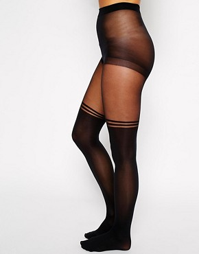 Image 2 ofGipsy Mock Over The Knee Stripe Tights