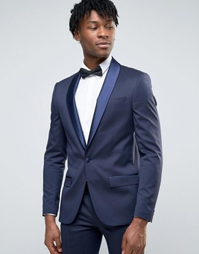 River Island Skinny Fit Tux Suit Jacket In Navy