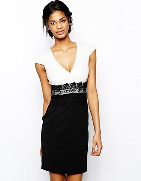 Lipsy Pencil Dress with Lace Waistband
