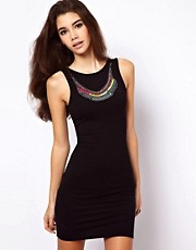 ASOS Mini Dress With Neon Necklace Trim