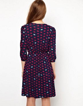 Image 2 ofA Wear Lip Print Wrap Dress