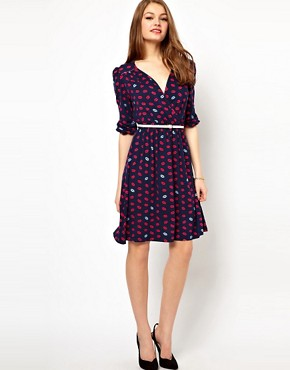 Image 4 ofA Wear Lip Print Wrap Dress