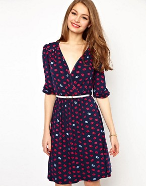 Image 1 ofA Wear Lip Print Wrap Dress