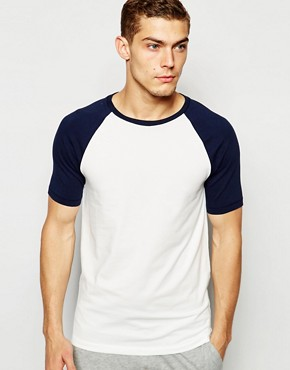 ASOS Loungewear Muscle T-Shirt With Stretch And Contrast Raglan Sleeves