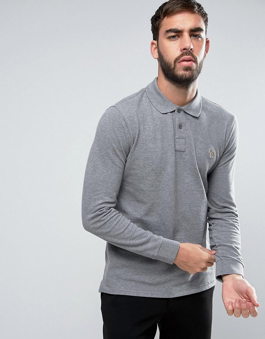 PS by Paul Smith Long Sleeve Polo Zebra Logo in Grey Marl - Melange