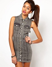 Motel Amelia Dress In Washed Denim