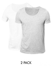 ASOS T-Shirt With Bound Scoop Neck 2 Pack White/Grey Marl SAVE 2