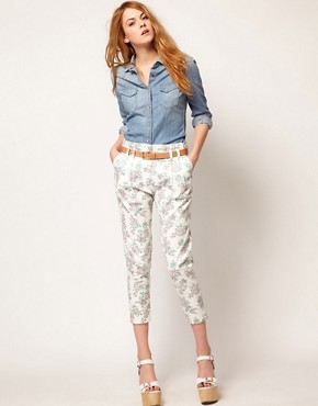 Image 1 ofJohann Earl Floral Print Denim Trousers