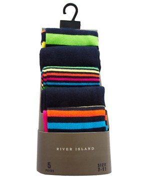 Image 3 ofRiver Island 5-Pack Rainbow Stripes Socks