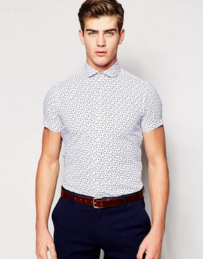 Red Eleven Short Sleeve Slim Fit Shirt In Anchor Print