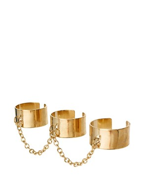Image 1 ofASOS Adjustable Pack of Three Linked Chain Rings
