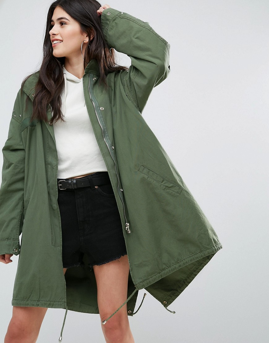 Missguided Khaki Sequin Back Oversized Parka - Khaki