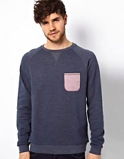 ASOS Sweatshirt With Oxford Tipped Pocket