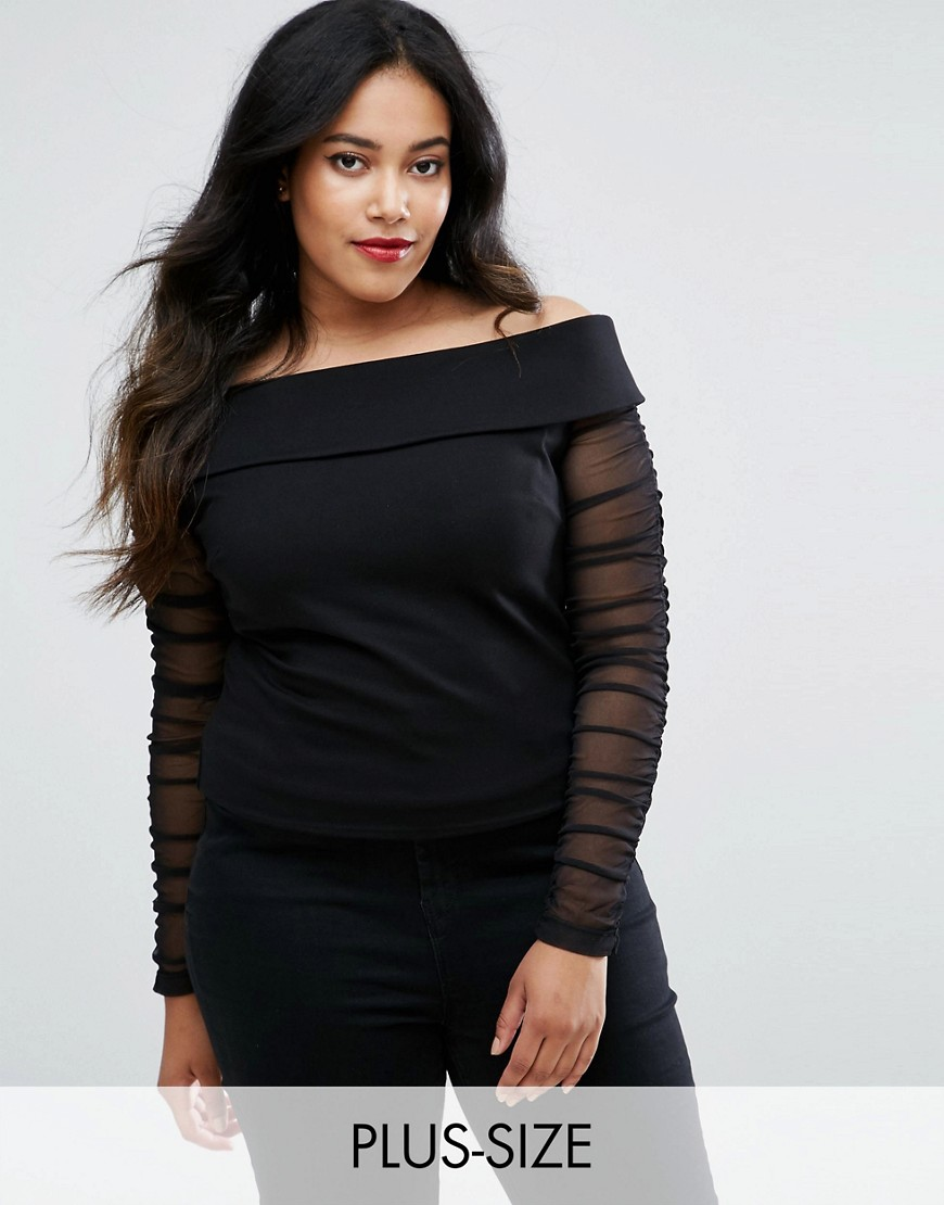 Coast Plus Ainey Bardot Top With Mesh Sleeves - Black